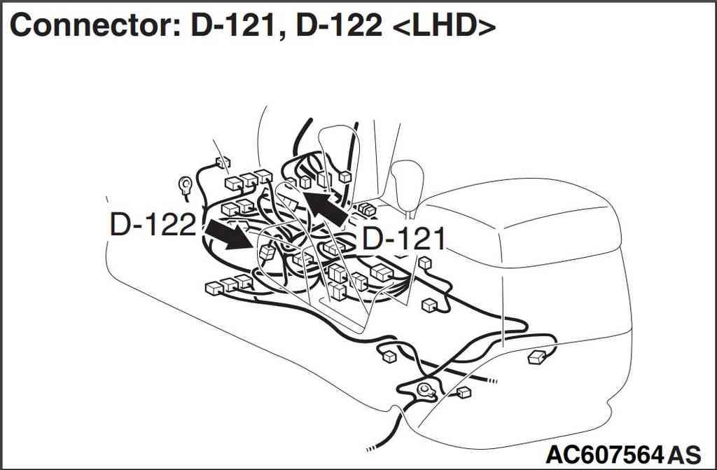 Разъемы D-121 и D -122 левый руль