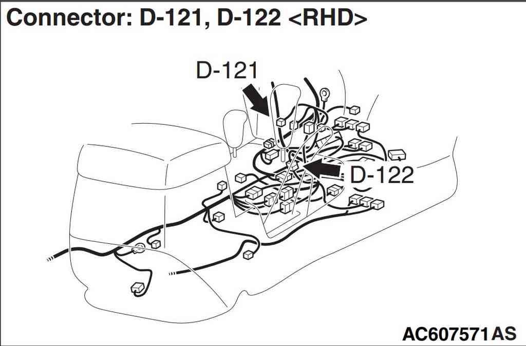 Разъемы D-121 и D -122 правый руль