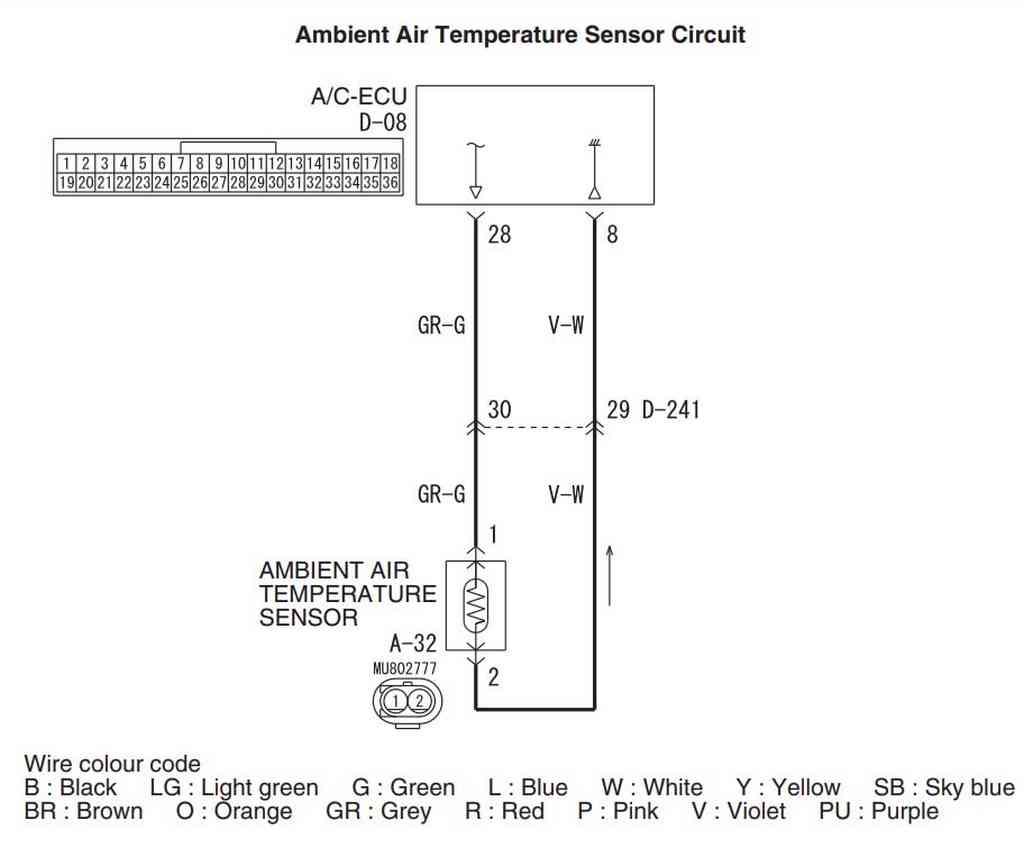 Схема датчика температуры окружающего воздуха. Левый руль.